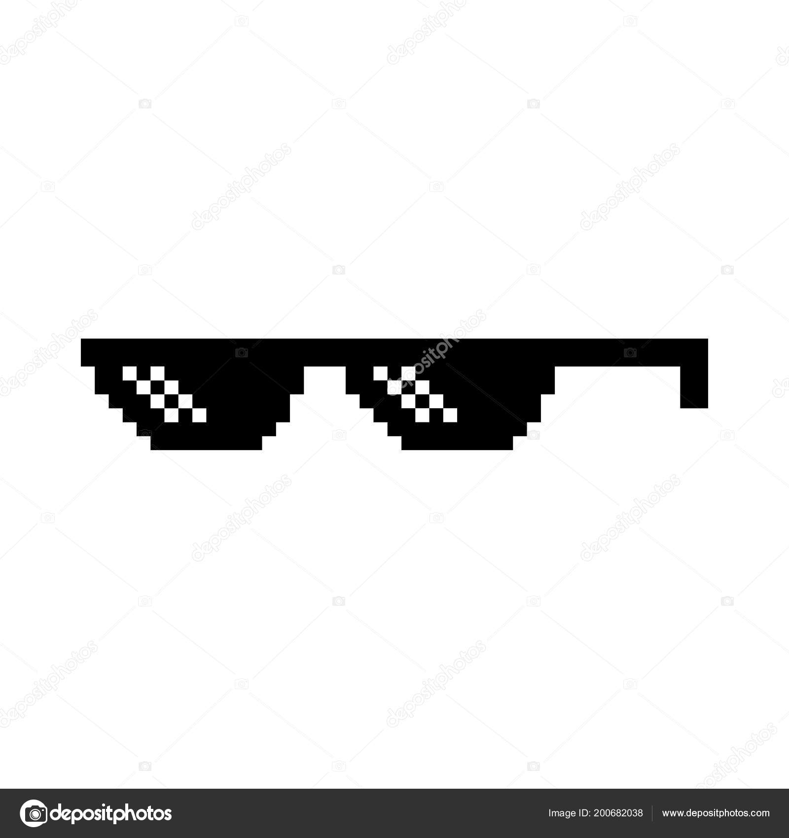 Creative Vector Illustration Of Pixel Glasses Of Thug Life