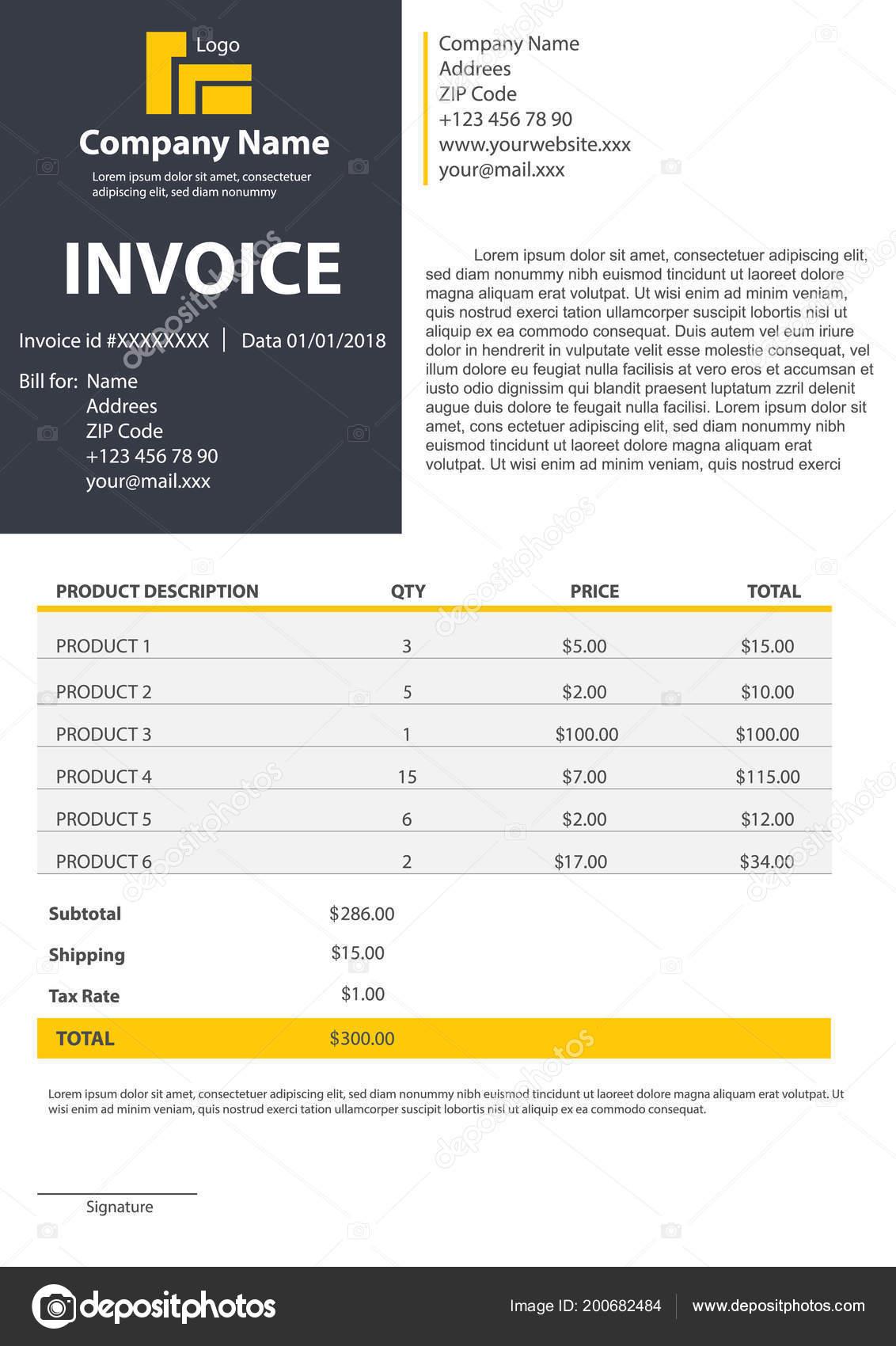 Ilustración de vector creativo de plantilla de formulario de factura ...