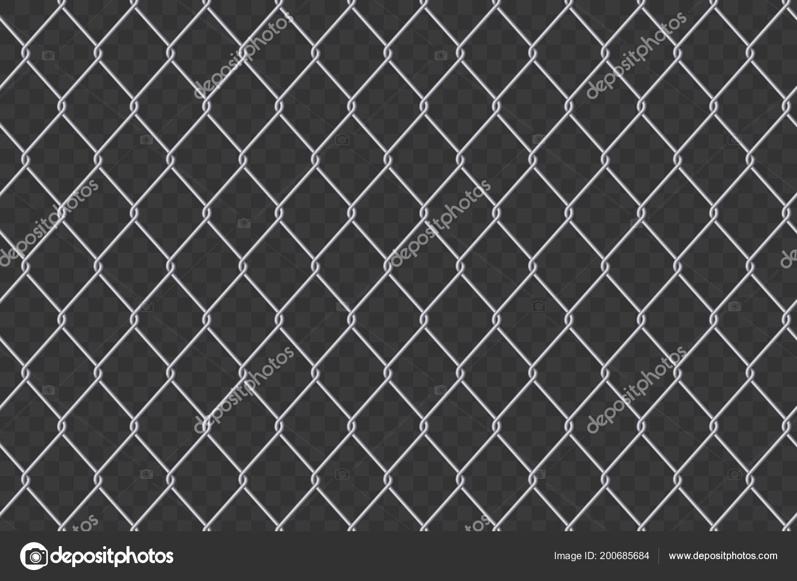 Creative Vector Ilration Of Chain Link Fence Wire Mesh Steel Metal Isolated On Transpa Background