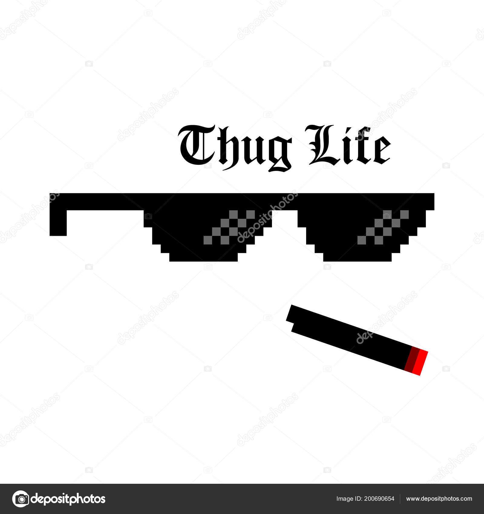 Kreative Vektor-Illustration von Pixel-Gläser von Thug Life Meme auf ...