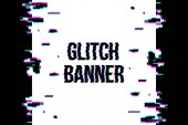 Fotografie Creative vector illustration of glitch style distorted banner isolated on transparent background. For art template design, list, page, blank, mockup, booklet, print, book, card, ad, sheet a4.