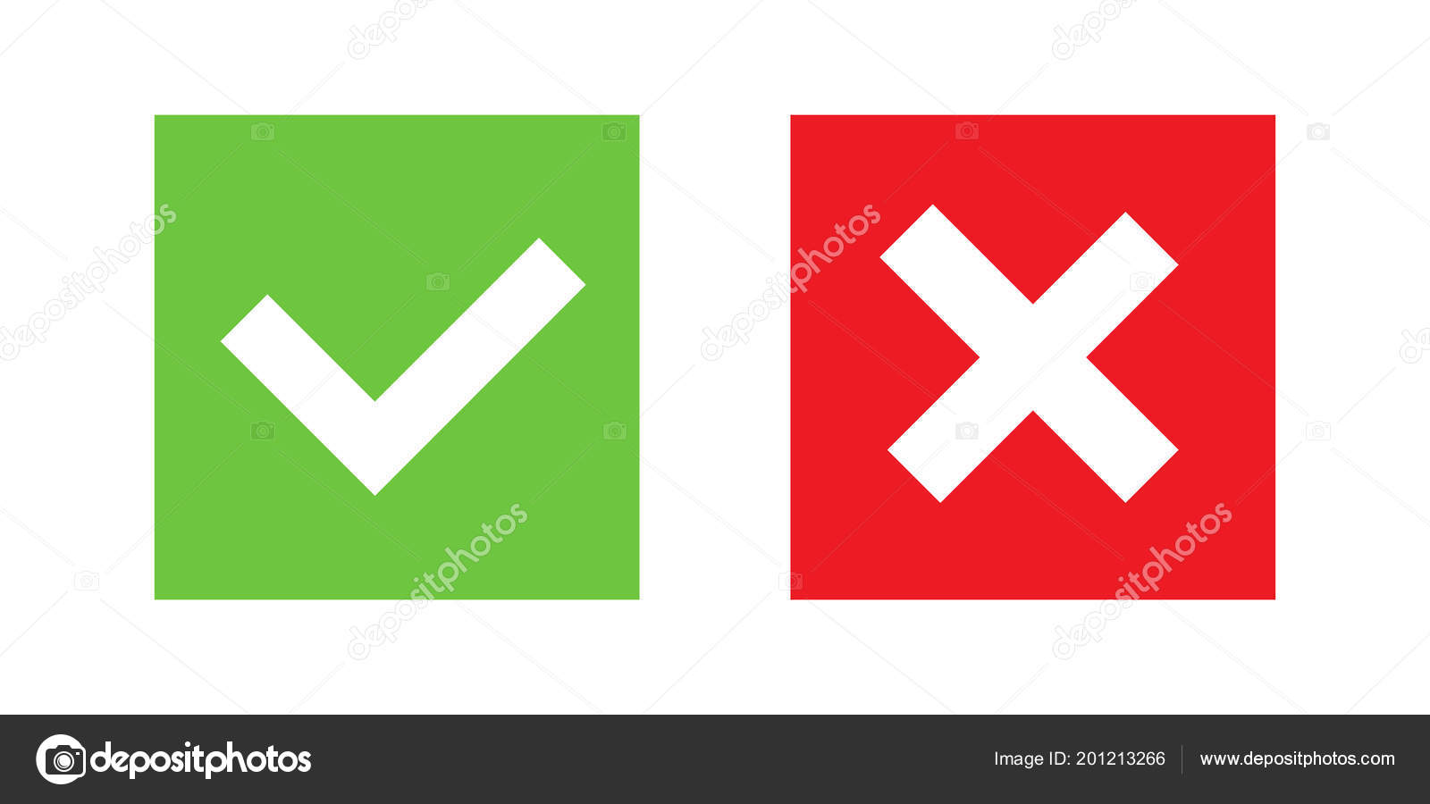 Creative vector illustration of green tick, red cross