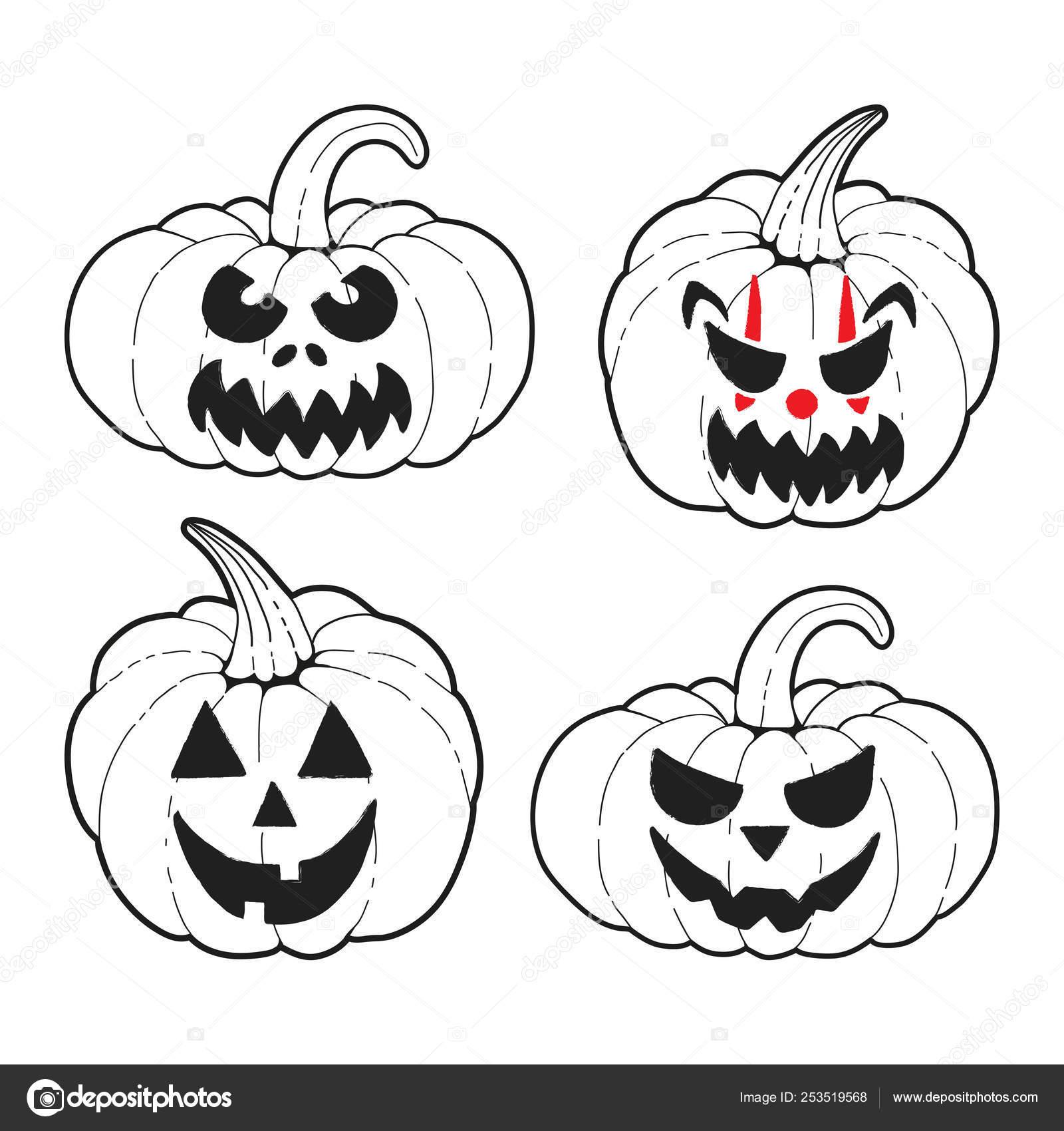 Vector Set Halloween Pumpkins Cute Scary Pumpkin Faces Ready Use Stock Vector C Orobin 253519568