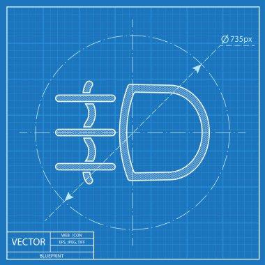 Fog light symbol vector hmi dashboard blueprint icon