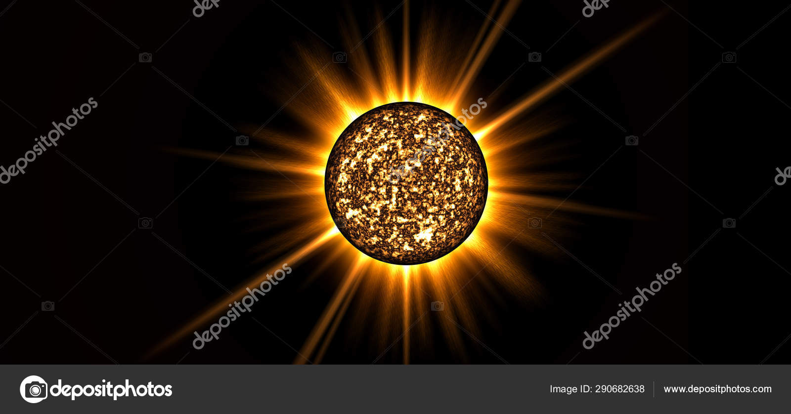 Sun, planet, space, rays, science, orange, yellow, black