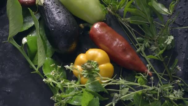 Zelenina, lilek, papriky a zelení na stole. Pohyb kamery od zdola nahoru