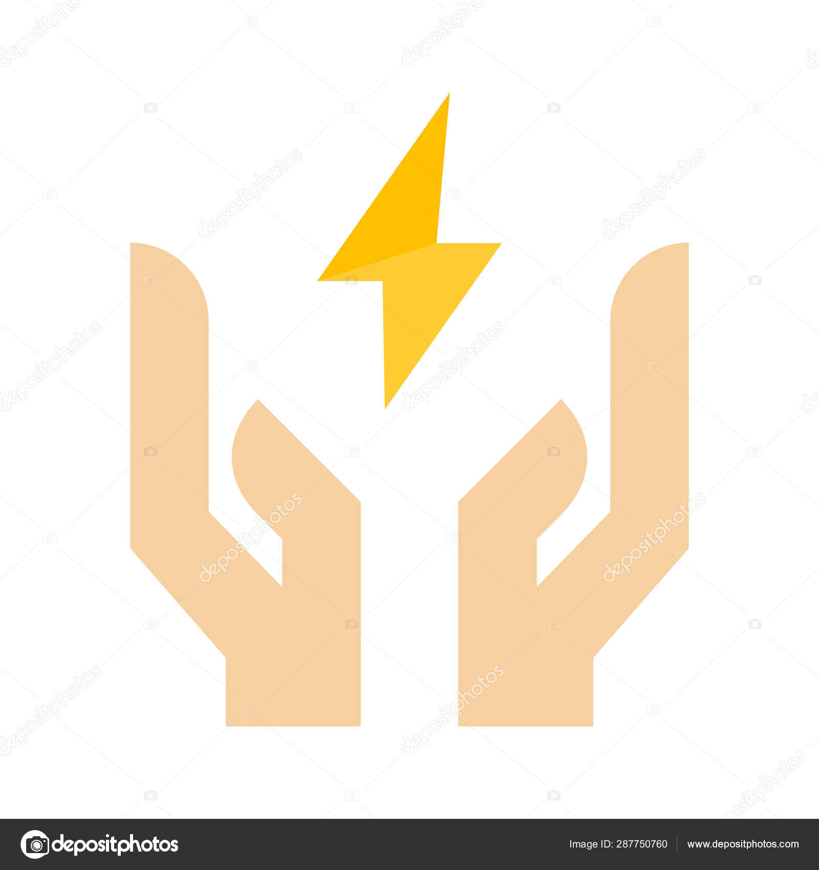 Energy Electricity Hand Icon Flat Illustration Colored