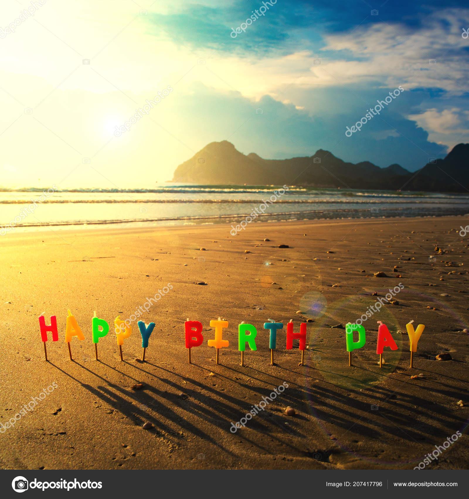 Happy Birthday Colorful Candles Beach Sunrise Stock Photo