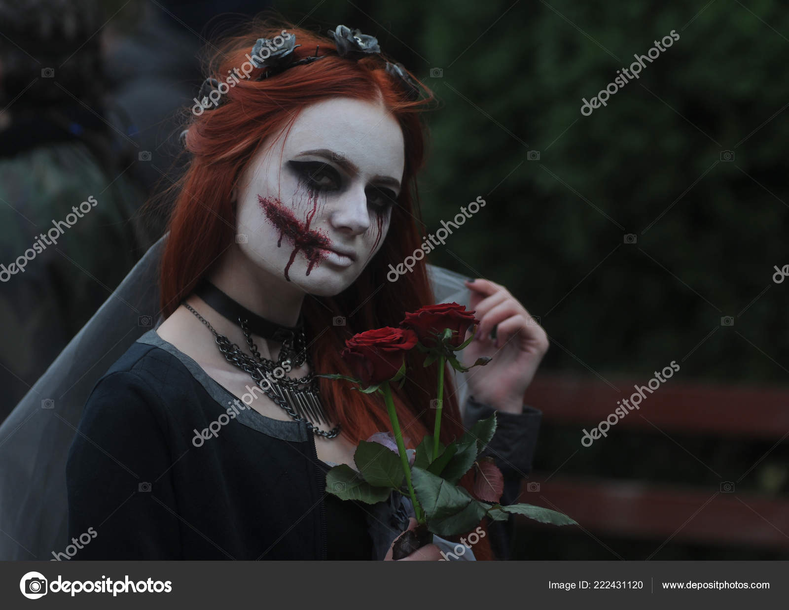 Young Woman Wearing Demonic Costume Make Takes Part Halloween Zombie Stock Editorial Photo C Fotos123 222431120