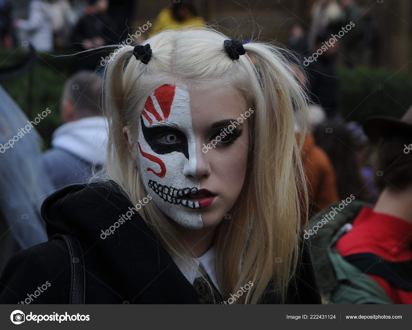 Young Woman Wearing Demonic Costume Make Takes Part Halloween Zombie Stock Editorial Photo C Fotos123 222431124