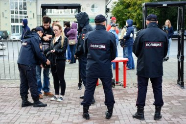 Barnaul, Russia-September 9, 2018.Rally against Putin's policy and pension reform
