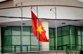 Ho či Minovo Město, Vietnam-říjen 3, 2018. vlajka Vietnamu v Ho Či Minovu městě