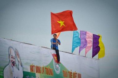 Ho Chi Minh city, Vietnam-October 3, 2018. flag of Vietnam in Ho Chi Minh city
