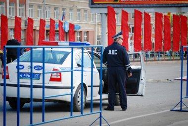 Barnaul, Russia-July 24, 2018. Russian police is on duty