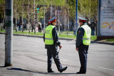 Barnaul, Russia-July 24, 2018. two Russian police are on duty