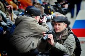 Barnaul,Russia-may 9, 2018. photographers take pictures of the holiday victory day