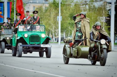Barnaul,Russia-may 9, 2017.Cadets of the Barnaul cadet corps participate in the victory Parade