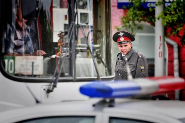 Barnaul,Russia-may 9, 2018. Police officers are on duty during the victory day