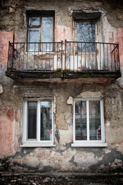 Barnaul,Russia-may 1, 2019. The old damaged house in Russia