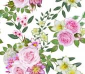 Varrat nélküli virágmintás. Virágkötészeti, csokor finom gyönyörű rózsaszín rózsa, zöld levelek