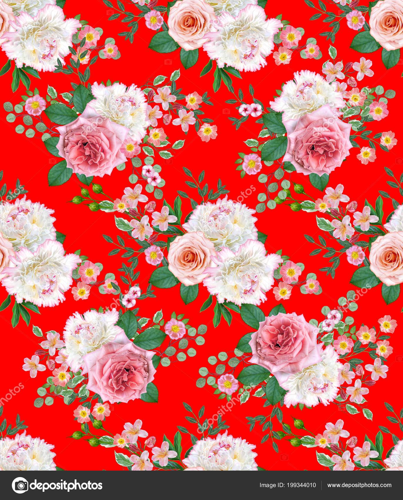 Floral Seamless Pattern Flower Arrangement Bouquet Delicate Beautiful Pink Roses