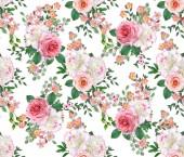 Fotografia Modello senza cuciture floreale. Disposizione di fiore, bouquet di peonie delicato belle rose dentellare, bianco verde foglie