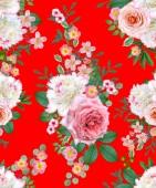 Květinový vzor bezešvé. Květinové aranžmá, kytice jemné krásné růžové růže, Bílé pivoňky, zelené listy.
