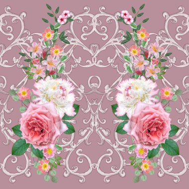 Garland, bouquet of delicate orange roses, white peony, bright pink flowers. Seamless pattern. silver textured curls. Oriental style arabesques. Brilliant lace. Openwork weaving delicate.