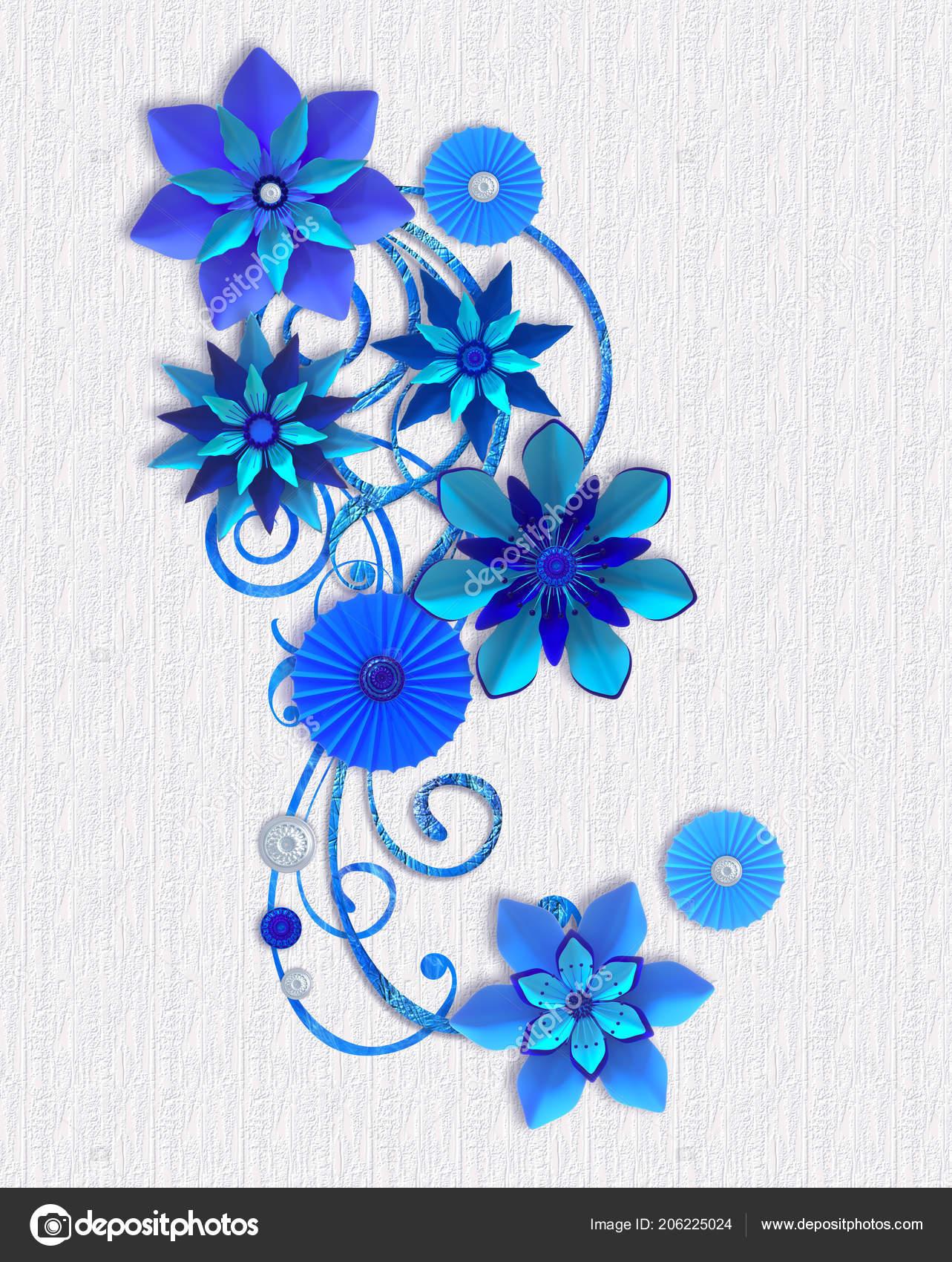 Composition De Fleurs En Papier Bleu, Conception Botanique, Composition  Florale, Décoration Murale, Carte U2014 Image De ...