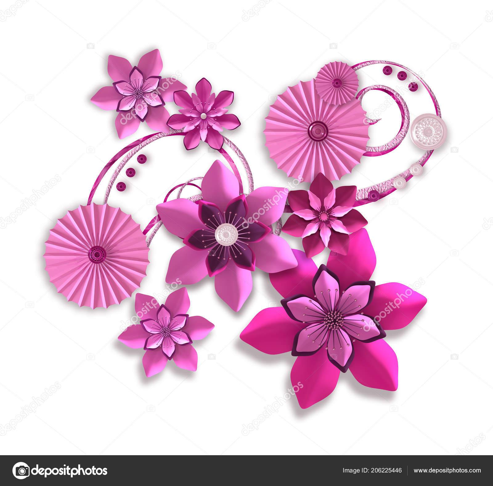 Render Composición Flores Papel Lila Rosa Diseño Botánico