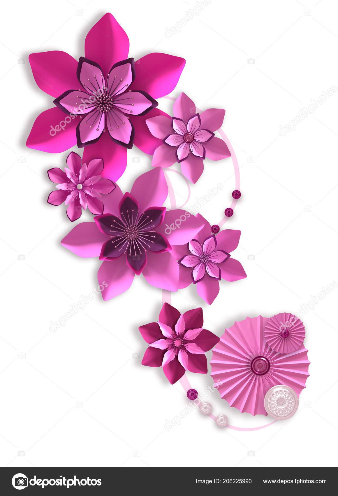 Composition De Fleurs En Papier Lilas Rose, Conception Botanique,  Composition Florale, Décoration Murale, Carteu2013 Images De Stock Libres De  Droits