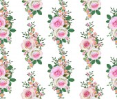 Floral seamless pattern. Flower composition. bouquet of delicate pink roses, buds, green leaves, branches, berries.
