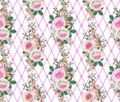 Fotografie Floral seamless pattern. Flower composition. bouquet of delicate pink roses, buds, green leaves, branches, berries.