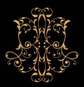set of decorative elements. Shiny gold curls, Arabic motif, arabesques. Isolated.