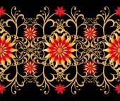 3D-Rendering. Goldene stilisierte Blumen, zart glänzende locken, paisley Element, nahtlose Muster. Orientalischen Stil Arabesken. Glänzende Spitze. Durchbrochene weben feinen, goldenen Hintergrund.