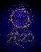 Christmas shining background New Year, 2020, round gold clock, luminous circles, tinsel, confetti, stars. 3d rendering