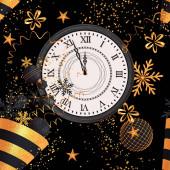 Vánoční leskle černá pozadí, nový rok, zlatý kužel, létající konfety, šneky, kuličky, Tinsel, koule, srdce, hračky, hadička, vločka, 3D vykreslování, bezproblémový vzor.
