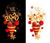Vánoční světle Rudé světlé pozadí, nový rok, zlatý kužel, létající konfety, jiskří, Tinsel, koule, srdce, hračky, hadičky, 3D vykreslování, izolace