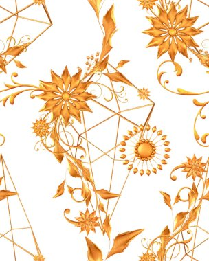Floral arrangement, stylized golden leaves and flowers, shiny berries, delicate curls, geometric shape, paisley elements, seamless pattern, 3d rendering