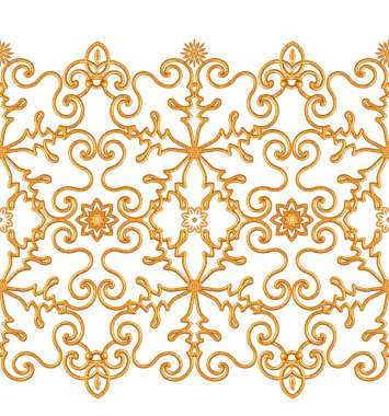 Seamless pattern. Golden textured curls. Oriental style arabesques. Brilliant lace, stylized flowers. Openwork weaving delicate, golden background, 3D rendering. stock vector