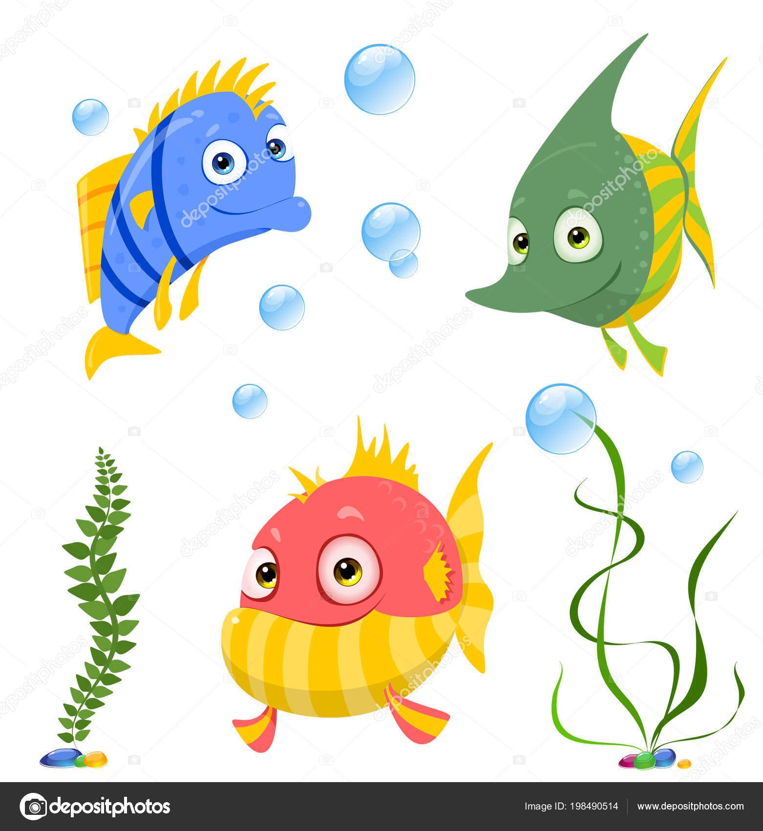 Vettore Clipart Pesci Colorati Personaggi Dei Cartoni Animati