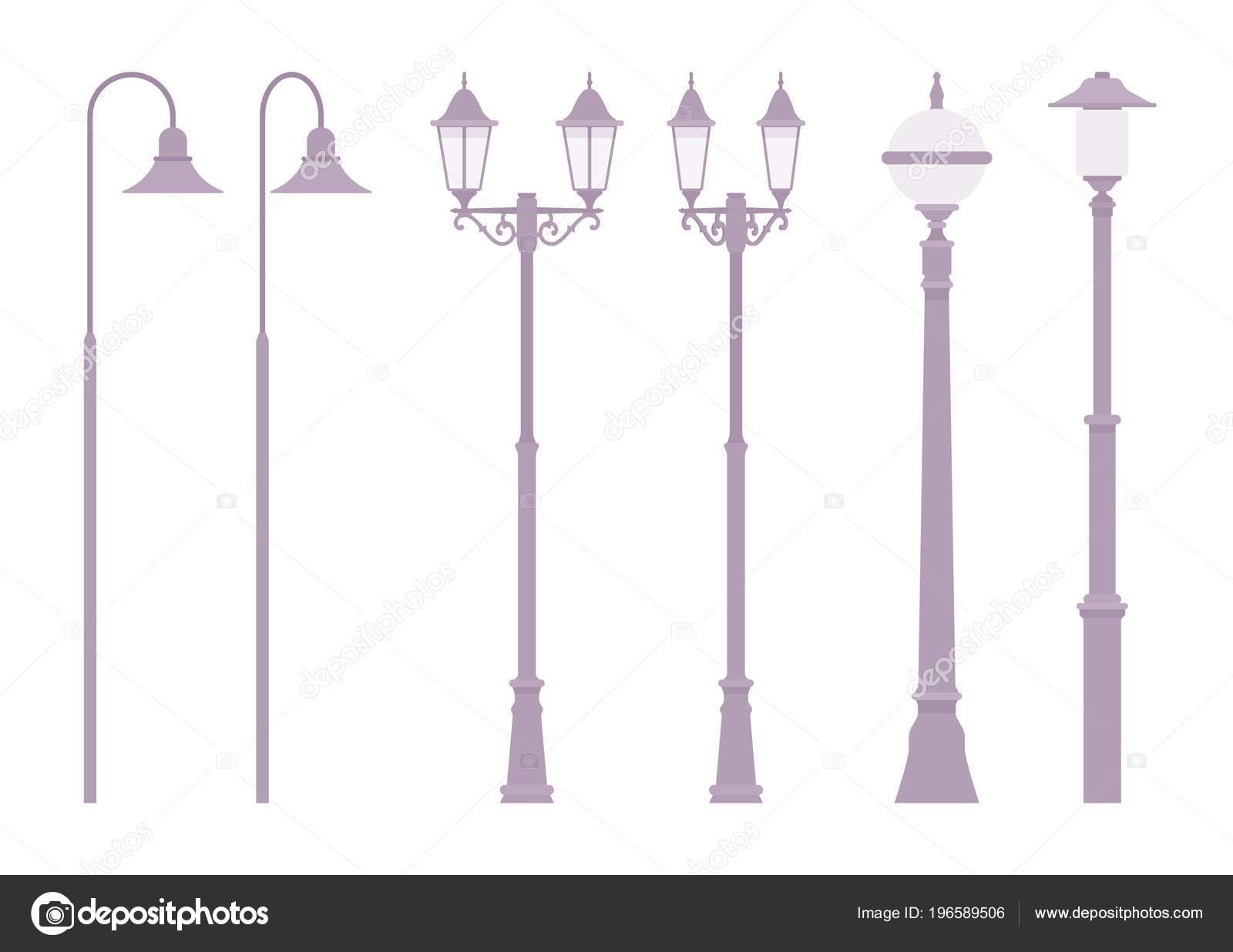 Silver retro street lamp u stock vector andrew rybalko