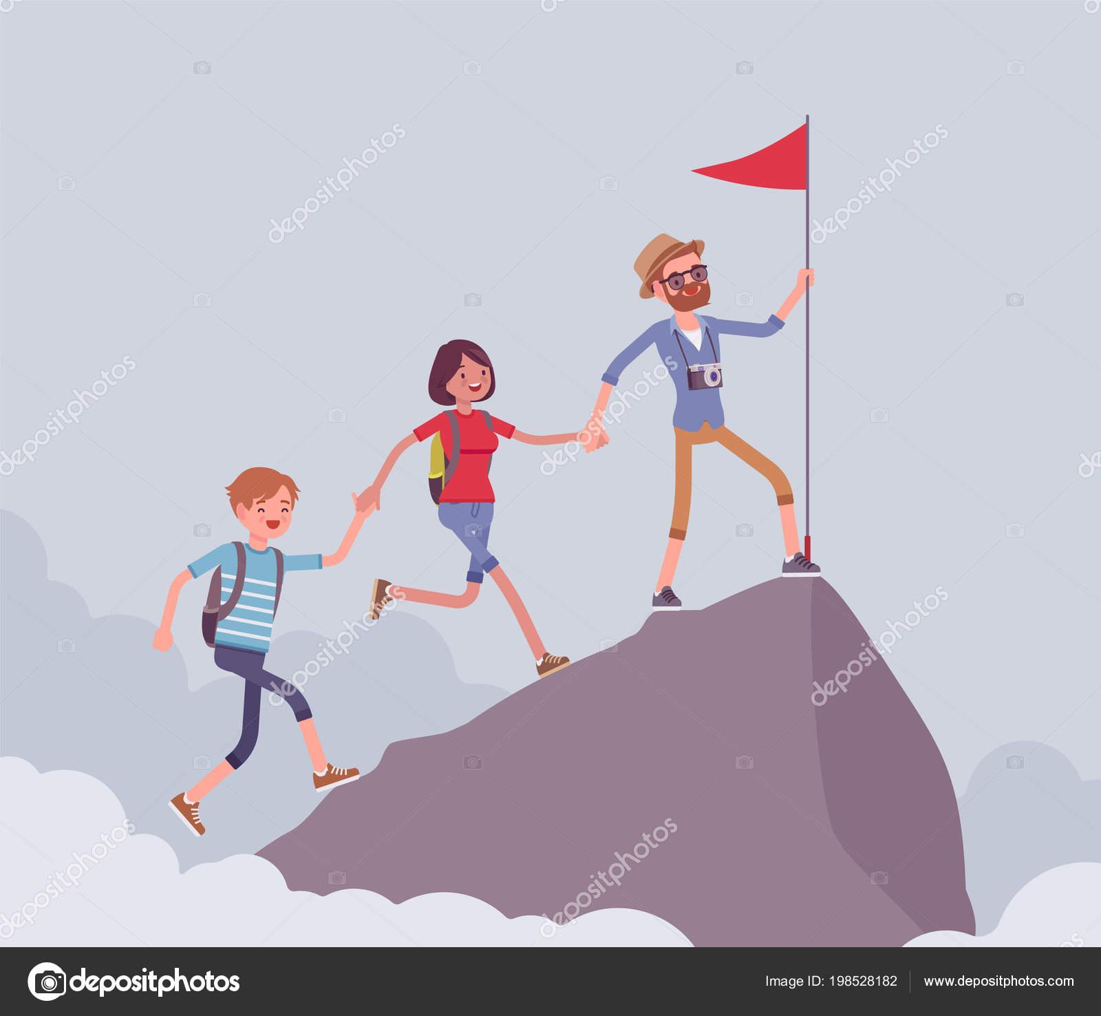 Grupo de turistas conquistando la montaña — Vector de stock ...