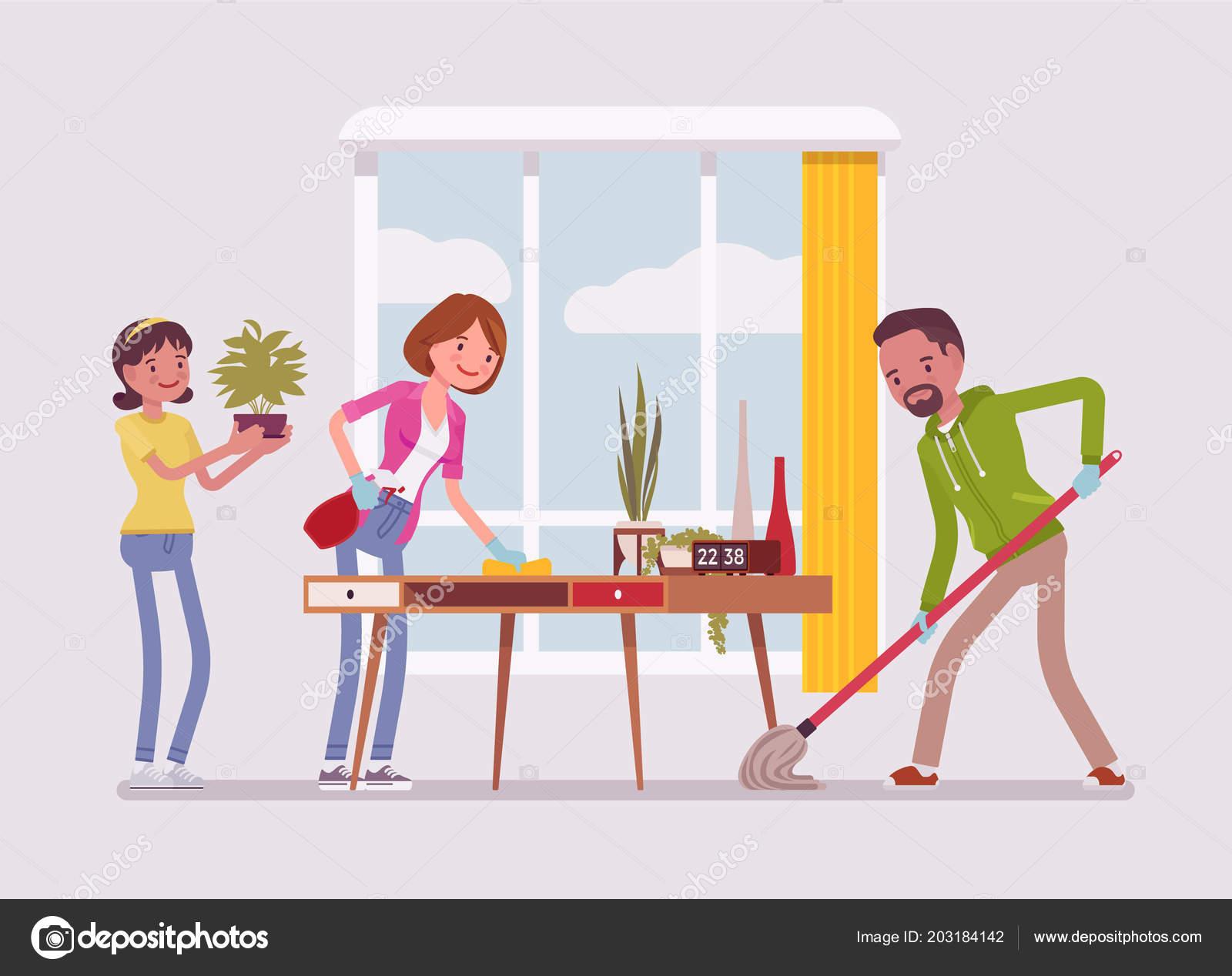 Limpieza de la casa de la familia archivo im genes - Trabajo para limpiar casas ...