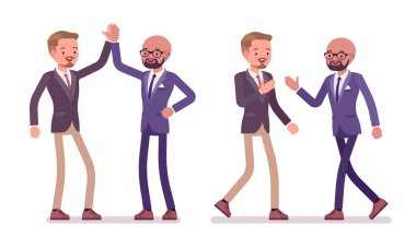 Men friendly greeting. Male friends giving high five and handshake, office behavior. Business protocol manners, etiquette concept. Vector flat style cartoon illustration isolated on white background