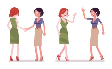 Female friends greeting