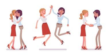 Female friends meeting, greeting