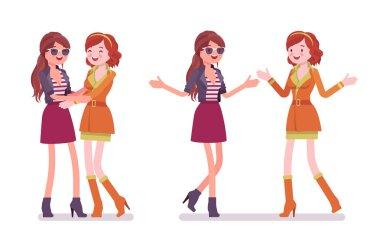 Female close friends greeting