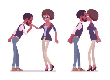 Male and female black greeting