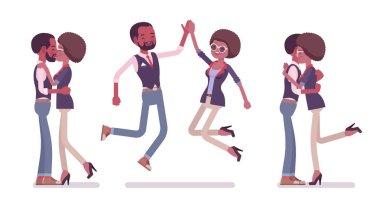 Male, female black friends meeting, greeting